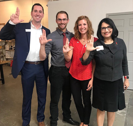 Alums John & Christy Riley (center) hosted UofL President Neeli Bendapudi and Josh Hawkins, UofL Asst. Vice President