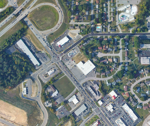 Aerial view of traffic study project in New Albany, Indiana.