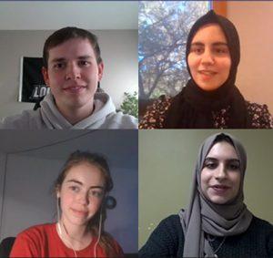 Computer Science Engineering students Dalton Blake, Safaa Boukdir, Hannah Bulbul and Natalina Vaccaro during their virtual presentation. (Pictured clockwise from top left)