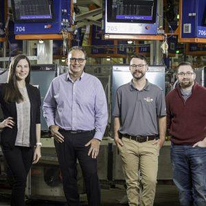Speed School alumni and GE engineers Lana Chausenko, Trent Ingrim, Collie Crawford and Jordan Klotz.